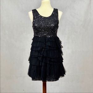 ALICE + OLIVIA Sequin and Tulle Ruffle Dress Small